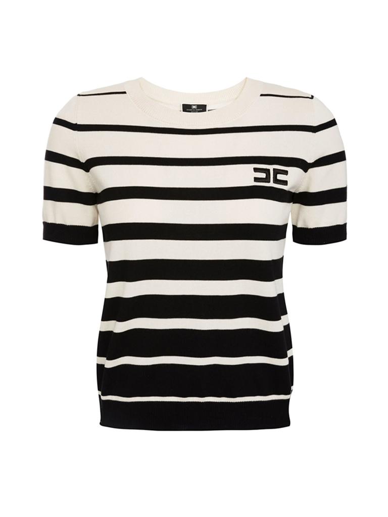 Elisabetta Franchi Elisabetta Franchi tricot top met strepenprint zwart creme