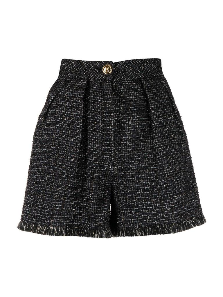 Elisabetta Franchi Elisabetta Franchi high waist tweed shorts zwart