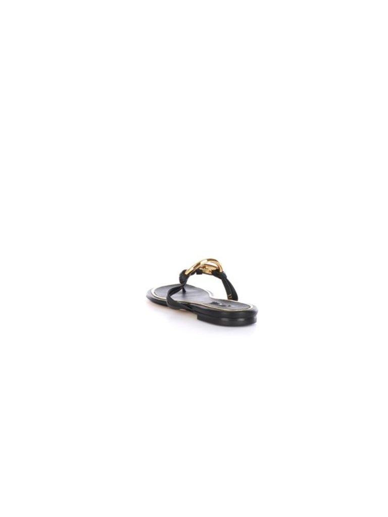Elisabetta Franchi Elisabetta Franchi slippers met goud logo zwart