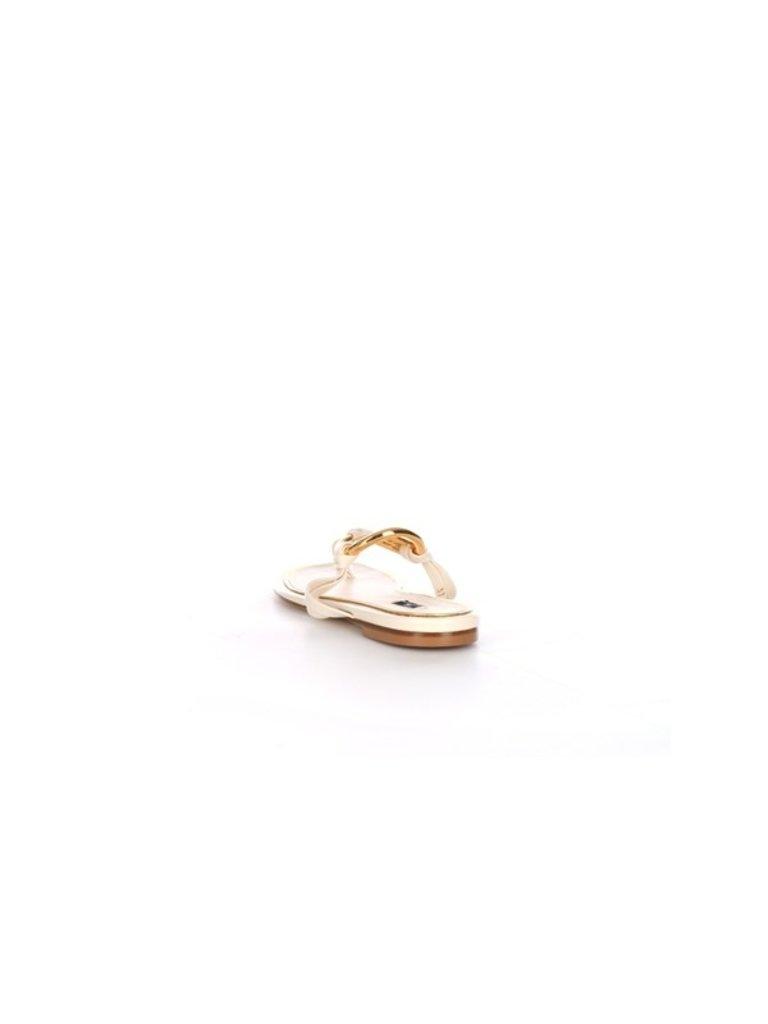 Elisabetta Franchi Elisabetta Franchi slippers met goud logo creme