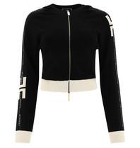 Elisabetta Franchi Elisabetta Franchi cropped hooded vest zwart