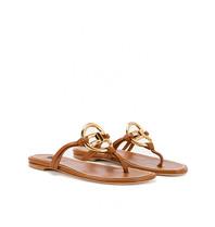 Elisabetta Franchi Elisabetta Franchi slippers met goud logo bruin