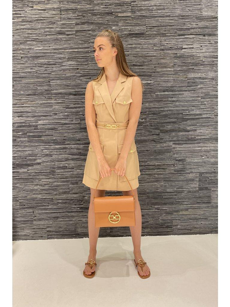 Elisabetta Franchi Elisabetta Franchi mouwloze jurk met zakken camel