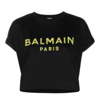 Balmain Balmain cropped t-shirt met logo print zwart lime