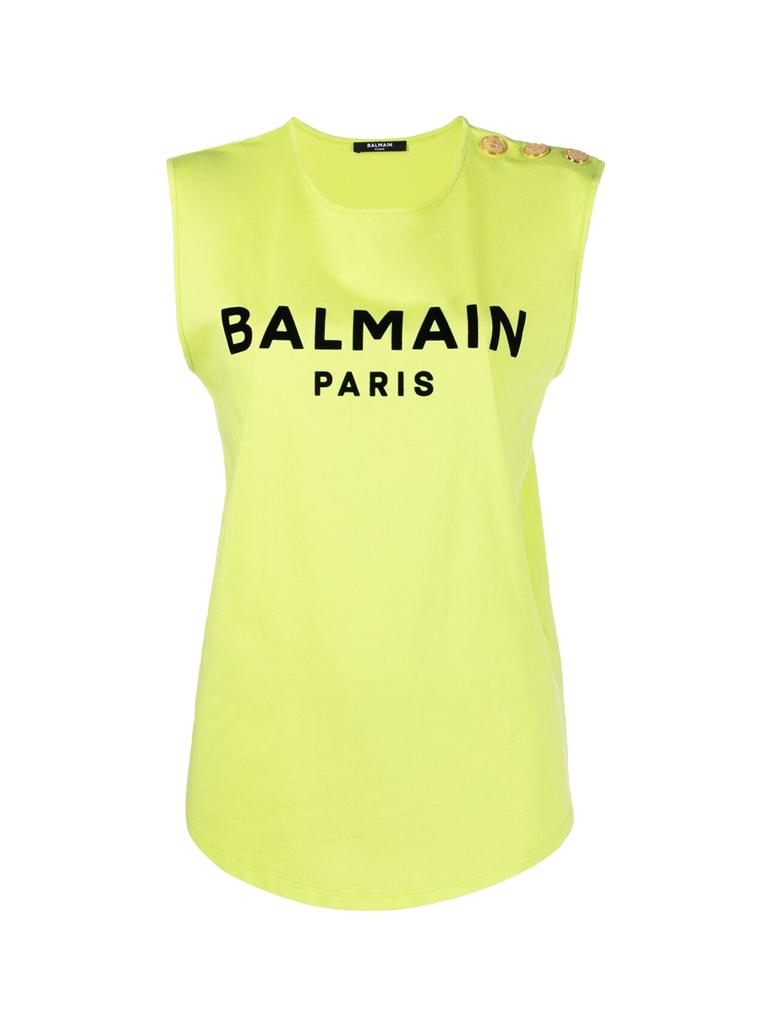 Balmain Balmain T-shirt met logo print lime
