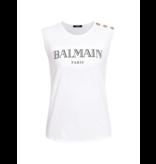 Balmain Balmain top met logoprint en goudkleurige knopen wit