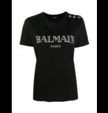 Balmain Balmain T-shirt met logoprint en goudkleurige knopen zwart
