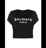 Balmain Balmain Cropped T-shirt with velvet logo black