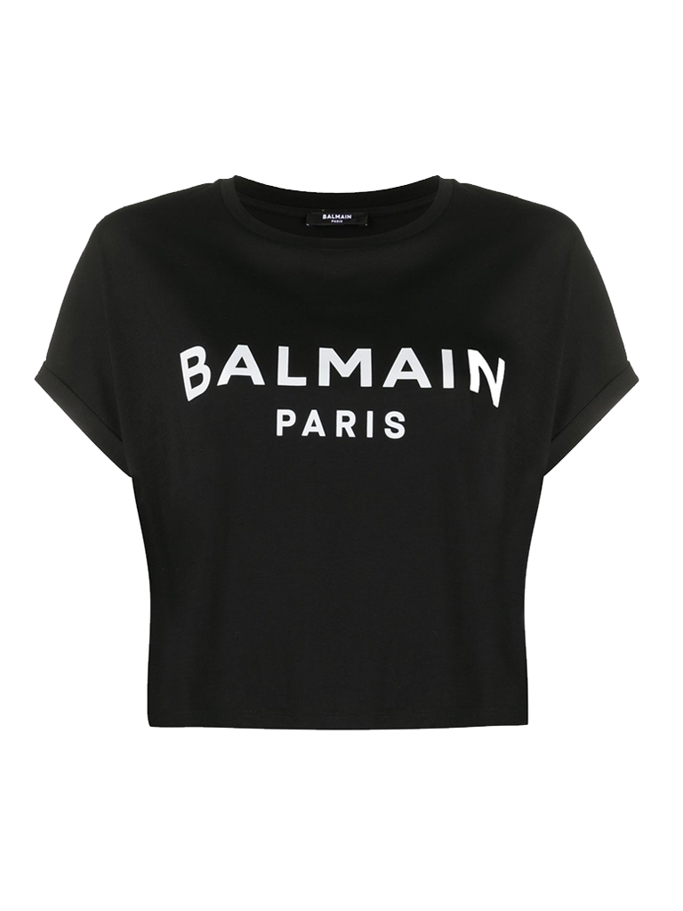 Balmain Balmain Cropped T-shirt met velvet logo zwart