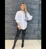 DMN Paris DMN Paris Chloe blouse met borduursel kobaltblauw wit