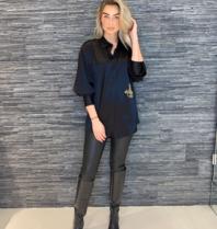 DMN Paris DMN Paris Chloe zijde blouse met borduursel zwart