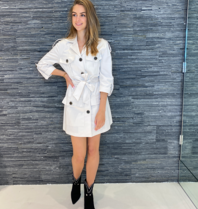 Rinascimento Rinascimento cargo jacket met ceintuur off white