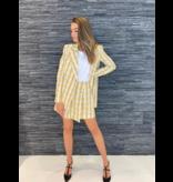 Rinascimento Rinascimento oversized blazer met ruitjesprint geel