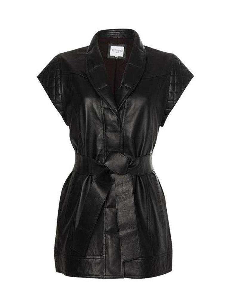 Est'seven Est'Seven Leather cardigan gilet Macy zwart