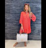 Est'seven Est'Seven Alice jurk met print rood roze
