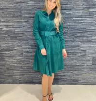 Est'seven Est'Seven Alina suede jurk emerald green