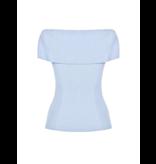 Rinascimento Rinascimento off shoulder tricot top blauw