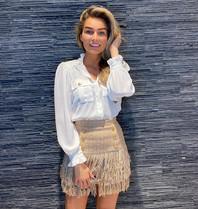 Elisabetta Franchi Elisabetta Franchi tweedelige jurk met knopen wit champagne
