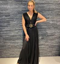 Elisabetta Franchi Elisabetta Franchi maxi geplooide jurk met riem zwart
