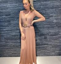 Elisabetta Franchi Elisabetta Franchi maxi geplooide jurk met riem rosé goud