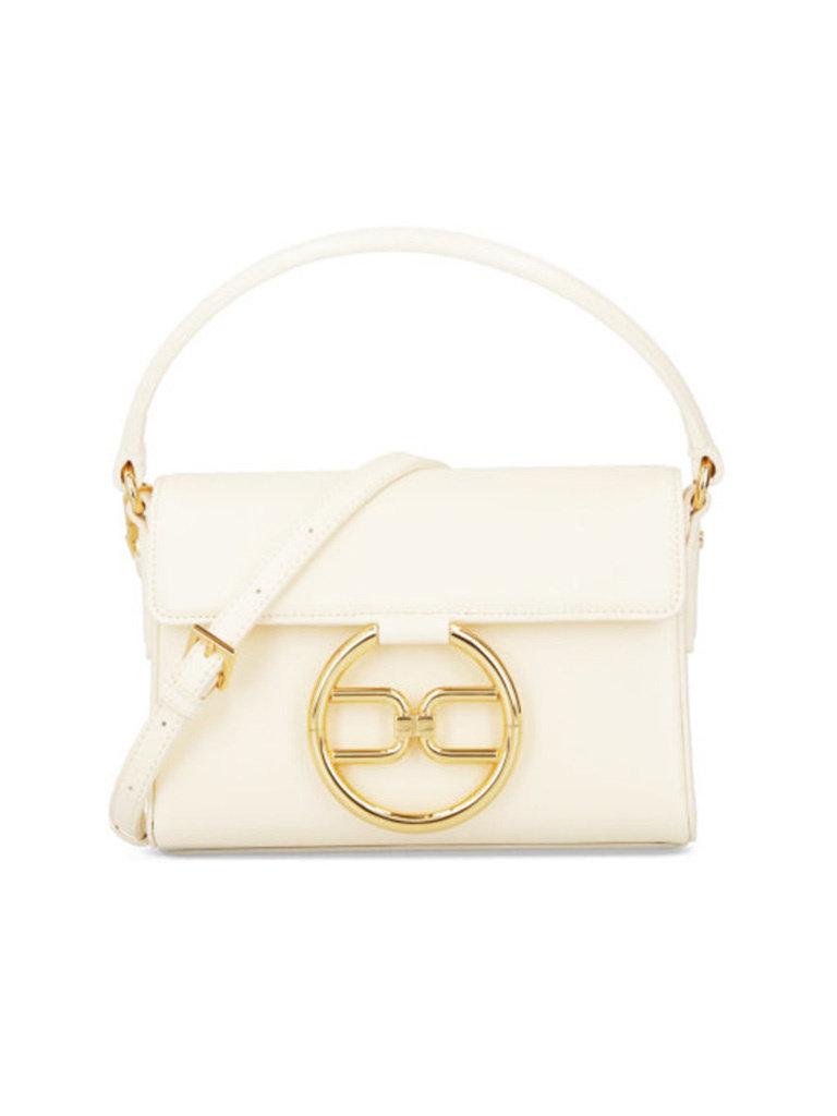 Elisabetta Franchi Elisabetta Franchi mini tas met goud logo ecru