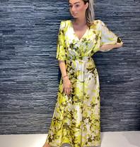 Rinascimento Rinascimento maxi jurk met volants en print geel