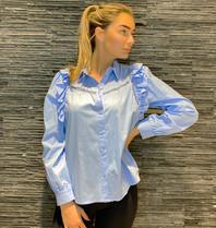 Rinascimento Rinascimento blouse met see-trough details blauw
