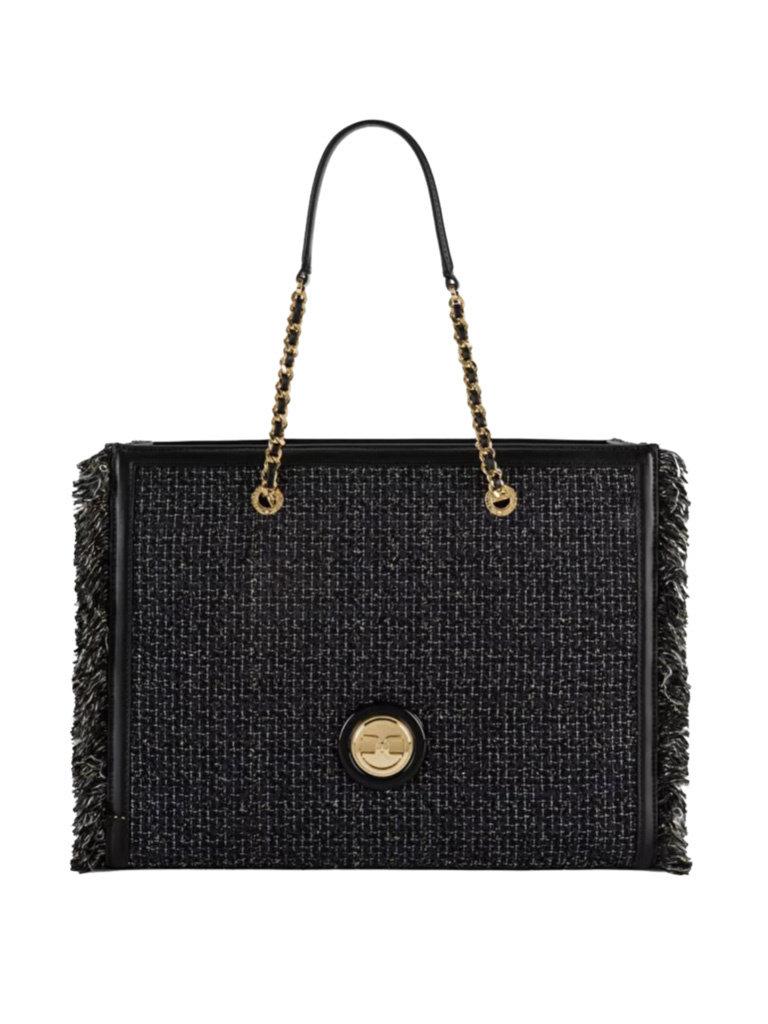 Elisabetta Franchi Elisabetta Franchi tweed tote bag zwart
