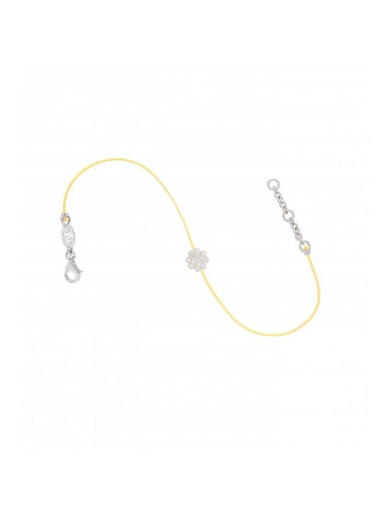 VANESSA TUGENDHAFT Vanessa Tugdenhaft draad armband met klaver diamanten geel zilver