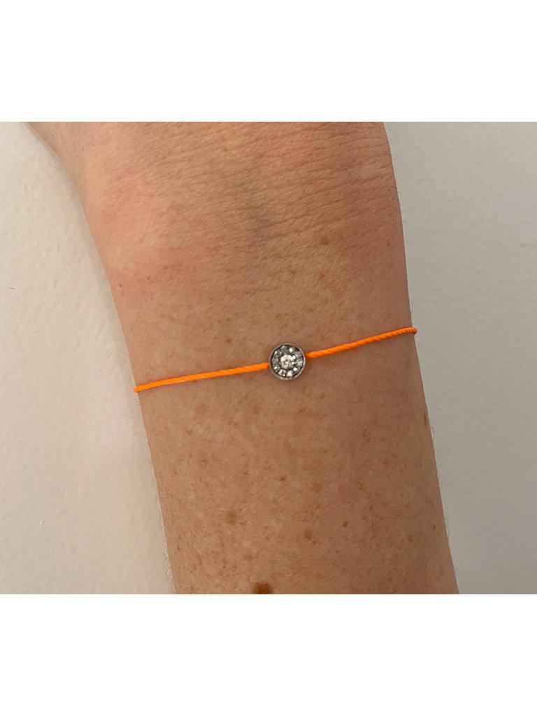 VANESSA TUGENDHAFT Vanessa Tugendhaft Touwarmband met diamanten oranje zilver