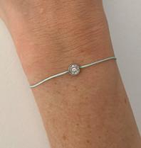 VANESSA TUGENDHAFT Vanessa Tugendhaft draad armband met diamanten aqua zilver