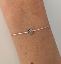 VANESSA TUGENDHAFT Vanessa Tugendhaft draad armband met diamanten zalm zilver