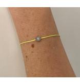 VANESSA TUGENDHAFT Vanessa Tugendhaft Touwarmband met diamanten geel zilver