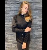 Co'couture Co'couture Sandy Poplin pofmouwen blouse zwart