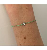 VANESSA TUGENDHAFT Vanessa Tugendhaft draad armband met diamanten groen zilver