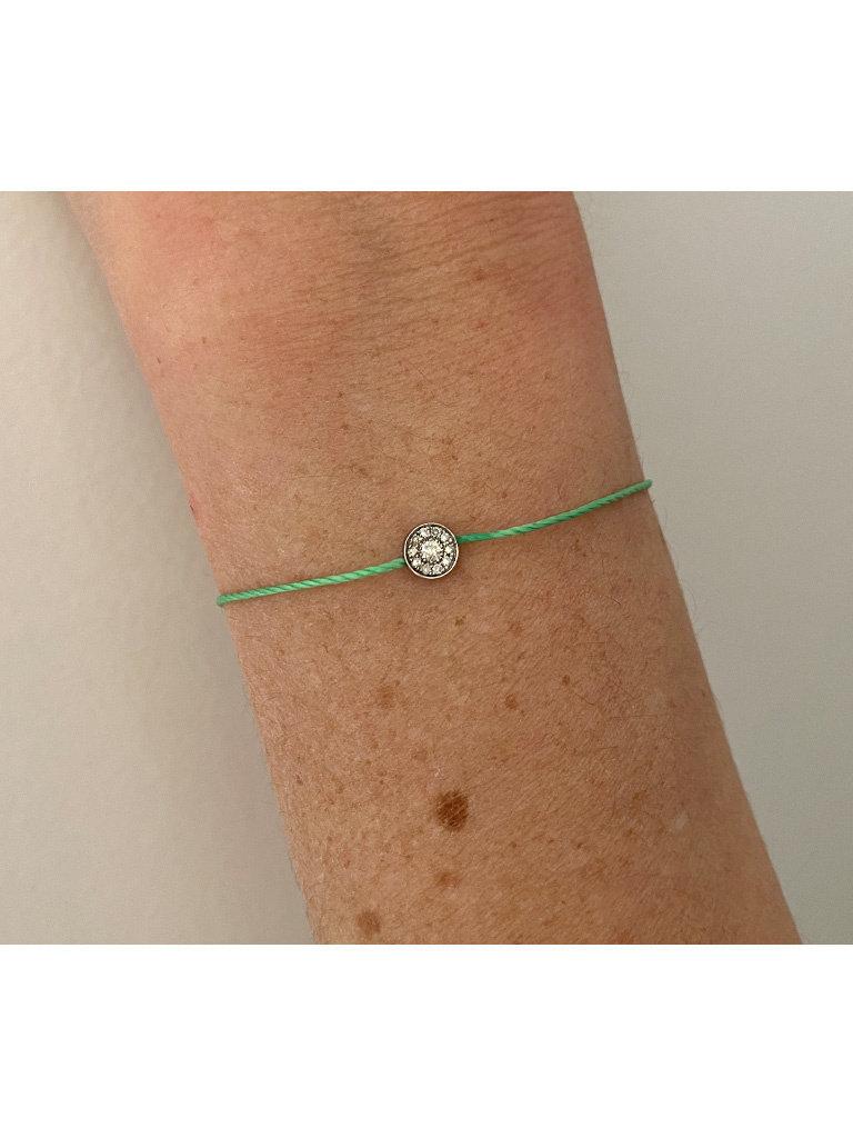 VANESSA TUGENDHAFT Vanessa Tugendhaft Touwarmband met diamanten groen zilver
