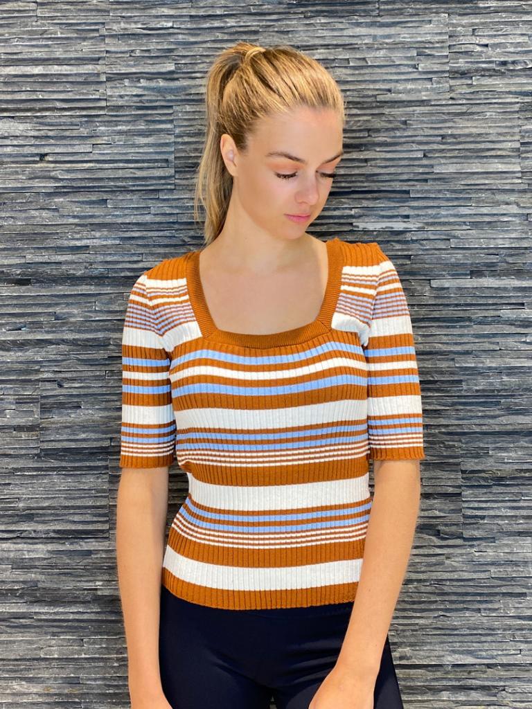 Rinascimento Rinascimento tricot top met strepen bruin
