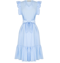 Rinascimento Rinascimento jurk met volants en ceintuur blauw