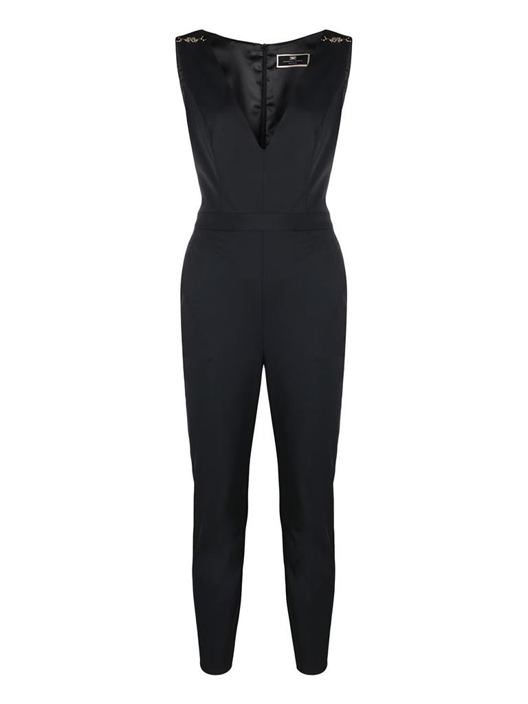 Elisabetta Franchi Elisabetta Franchi jumpsuit met v-hals zwart