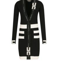 Elisabetta Franchi Elisabetta Franchi tricot jurk met logo zwart ecru