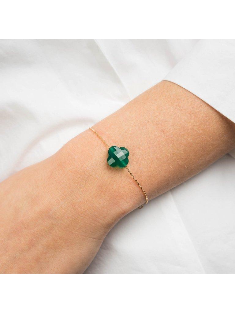 Morganne Bello Morganne Bello klaver armband groen goud
