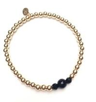 Pscallme Pscallme Three Onyx Gold Coloured armband