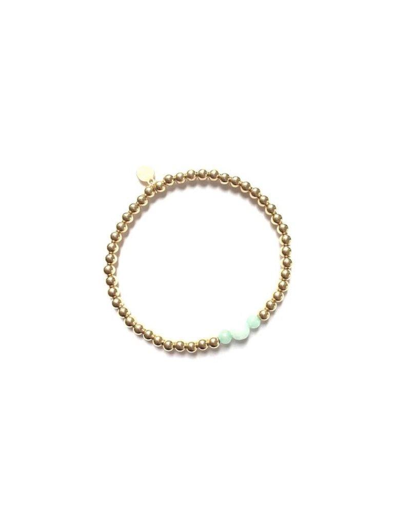 Pscallme Pscallme Three Amazonite Gold Coloured armband