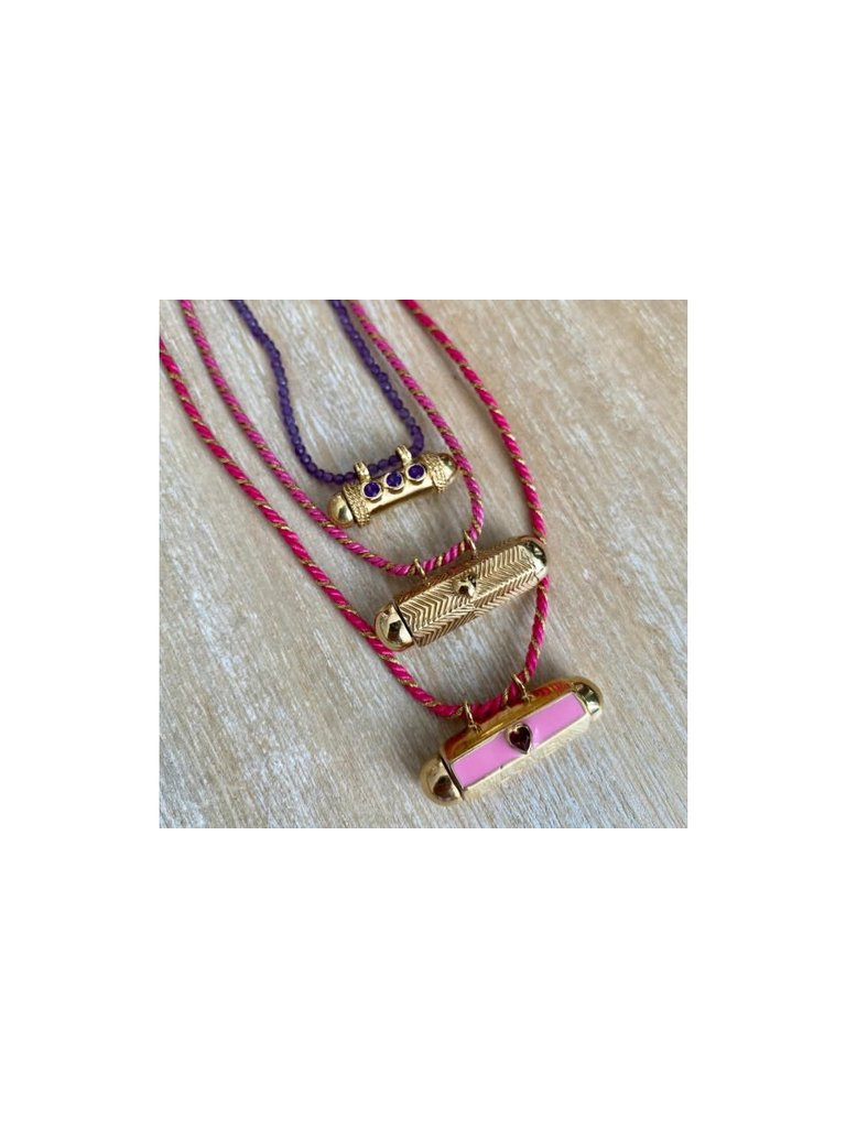 Pscallme Pscallme Prayerbox heart plain pink goldplated ketting