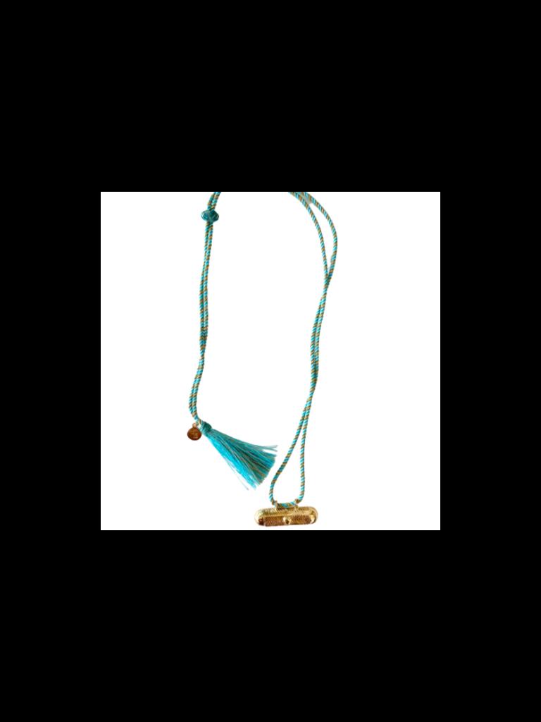 Pscallme Pscallme Prayerbox heart plain turquoise goldplated ketting