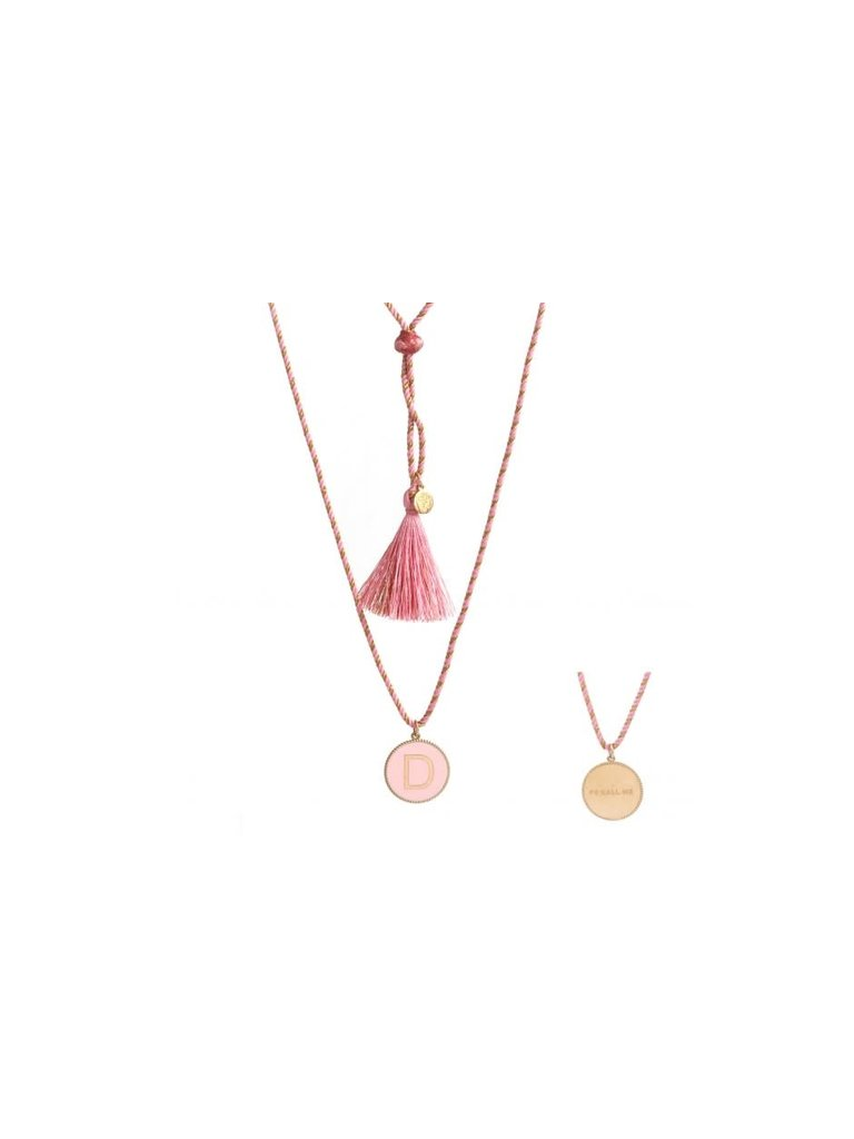 Pscallme Pscallme Enamel pink initial D goldplated ketting