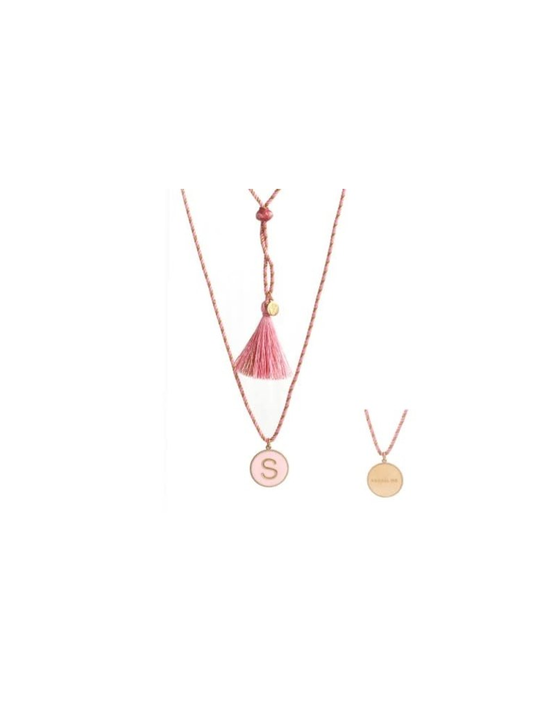 Pscallme Pscallme Enamel pink initial S goldplated ketting