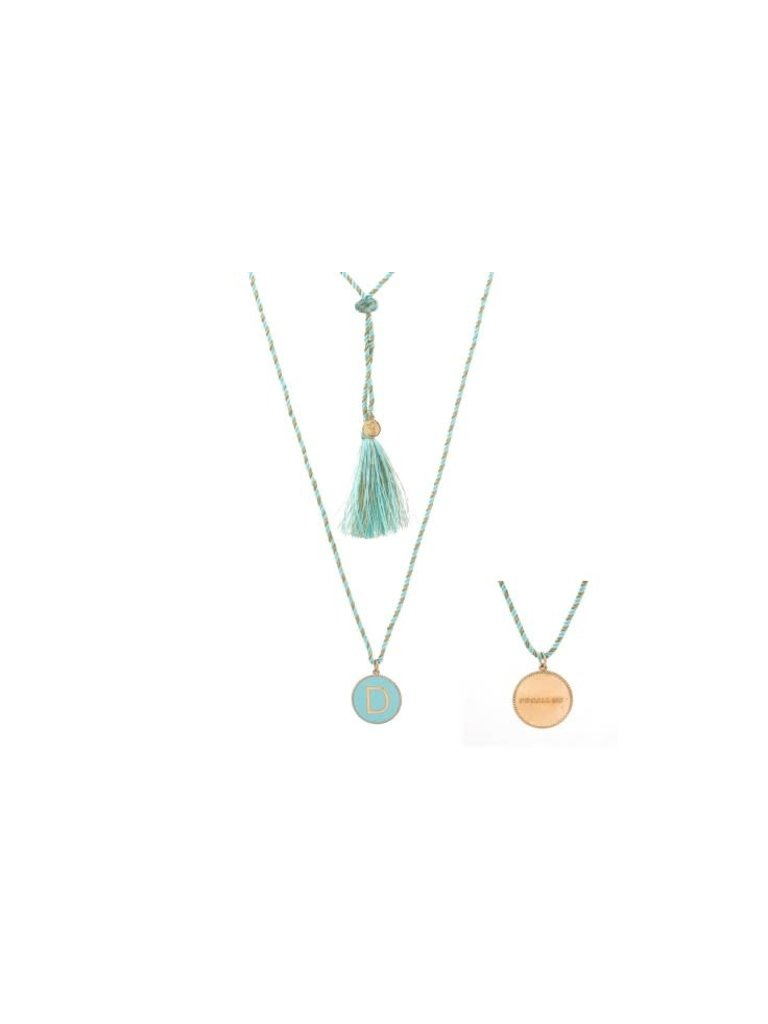 Pscallme Pscallme Enamel turquoise initial D goldplated ketting