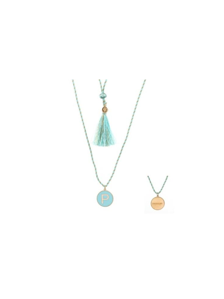 Pscallme Pscallme Enamel turquoise initial P goldplated ketting