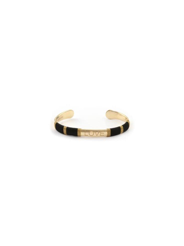 Pscallme Pscallme Bangle Rope Love black goldplated armband